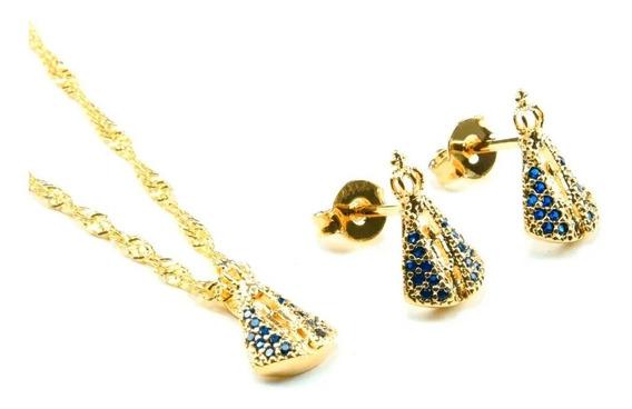 Conjunto Nossa Senhora Aparecida Banhado Ouro Zircônia Azul
