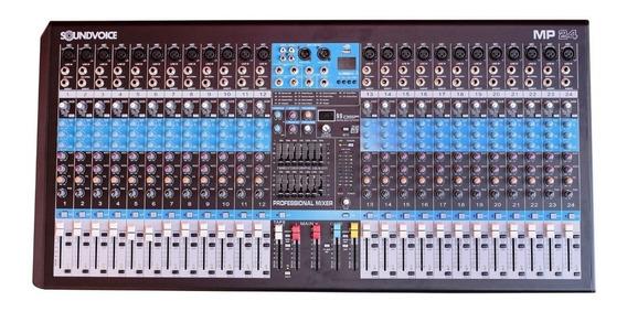 Mesa Som 24 Canais Profissional Efeito Usb Soundvoice Mp24