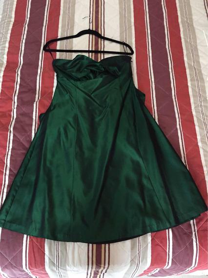 Vestido Strapless Verde Esmeralda Satinado