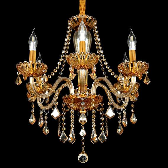 Lustre Cristal Legítimo 6 Braços Dourado Maria Thereza E14