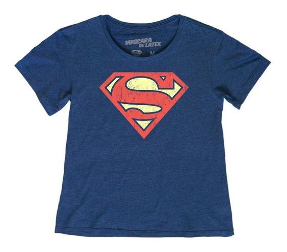 Playera Mascara De Latex Superman Logo Mujer 3