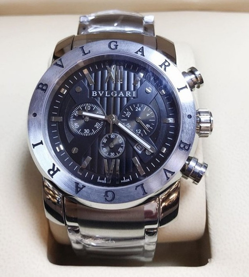 Relógio Masculino Bvllgari De Aço Fundo Preto