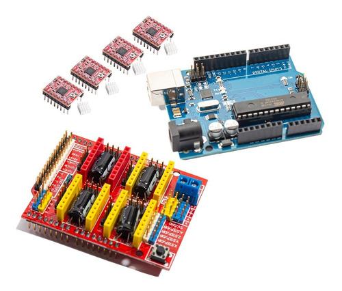 Kit Arduino Impresora 3d Uno Shield Cnc 4 Driver A4988