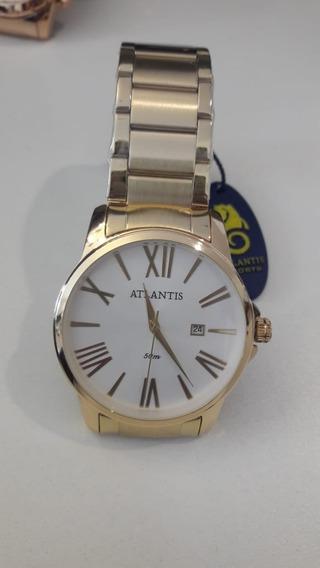 Relógio Masculino Dourado Da Atlantis
