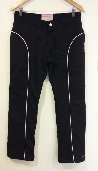 Pantalón Deportivo Negro Con Ribetes En Rosa Nike Talle M