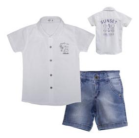 Roupas Infantil Menino Conjunto Camisa E Bermuda Jeans
