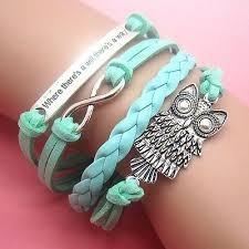 Bracelete Berloque Infinito Fofo Couro Prata Azul