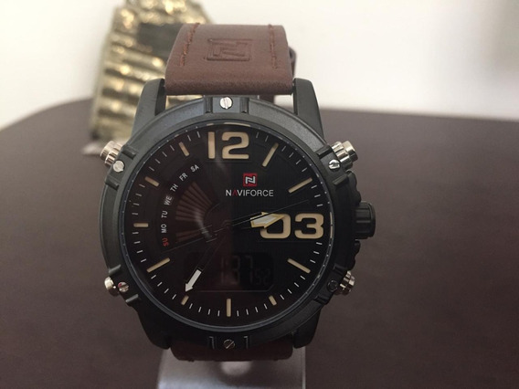 Relógio Masculino Pulso Naviforce Luxo Pulseira Couro P3187