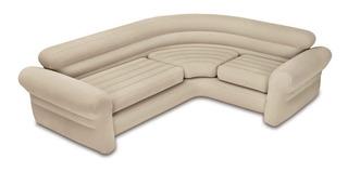 Sofa Esquinero Inflable Intex Color Beige Cap. 400kgs Vinilo