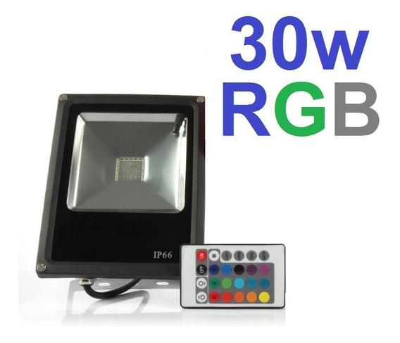 Refletor Projetor Holofote De Led Rgb Ip66 Com Controle 30w