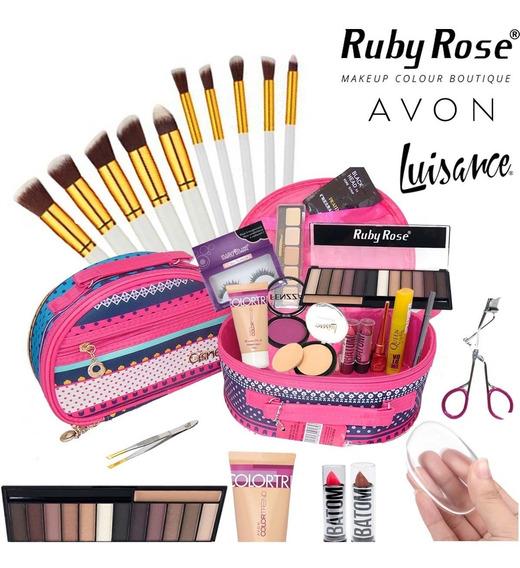 Maleta De Maquiagem Completa Avon Ruby Rose Pinceis Kabuki