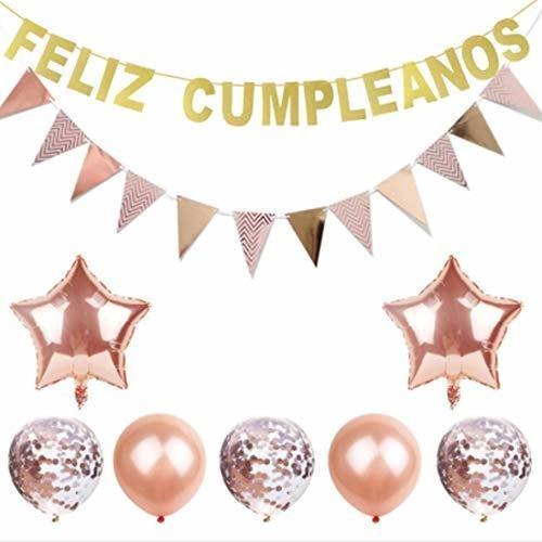 Imagen 1 de 7 de Conjunto De Decoraciones Feliz Cumpleanos, Kit De Globos Ros