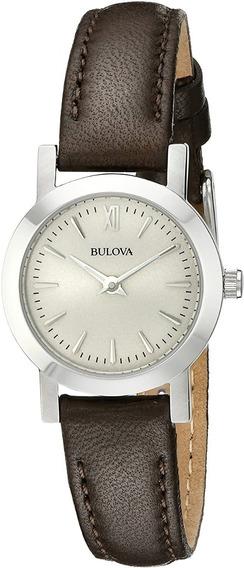 Reloj Bulova Mujer Cuero Clasico Marron Beige 96l210