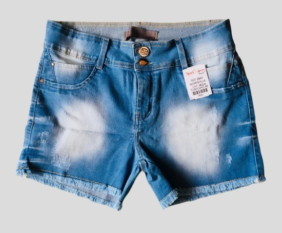 Short Jeans Feminino Plus Size - Azul Claro - Wpink
