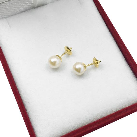 Par Aros Mujer Oro 18k Perlas Cultivo A Rosca Mediana 6mm
