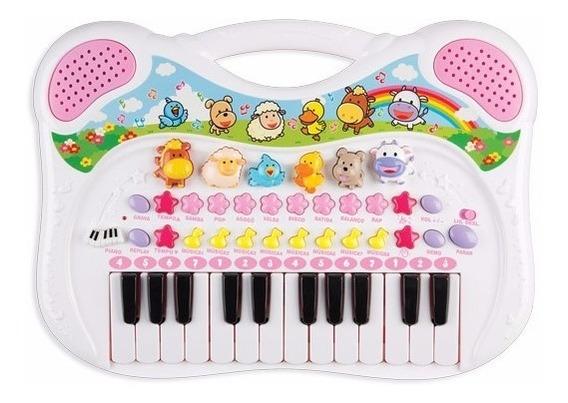 Piano Teclado Musical Infantil Rosa Menina Gravador Sons