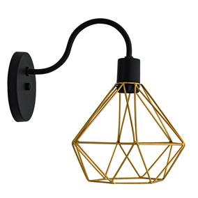 6x Arandela Diamante Retro Luminária Aramada Dourado *