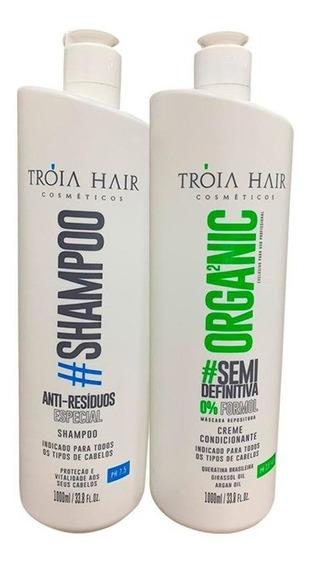 Escovas Semi Definitiva Troia Hair Organica 2 X 1000ml Produto Original Cabelo Liso Sem Formol Em 12x S/ Juros