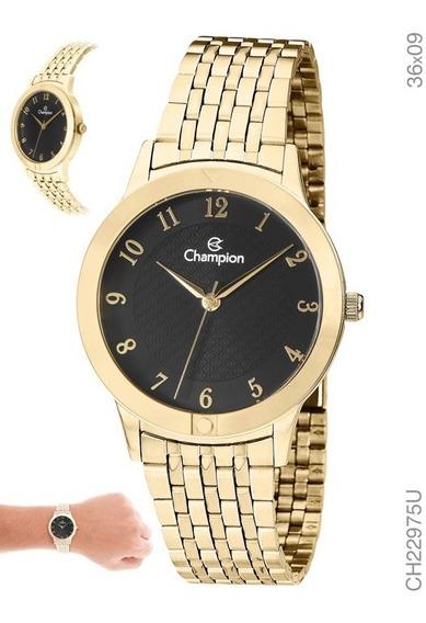 Relógio Feminino Champion Dourado Ouro 18k
