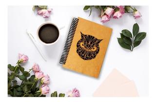 Cuaderno Artesanal De Madera Buho Pasta Dura Art14304