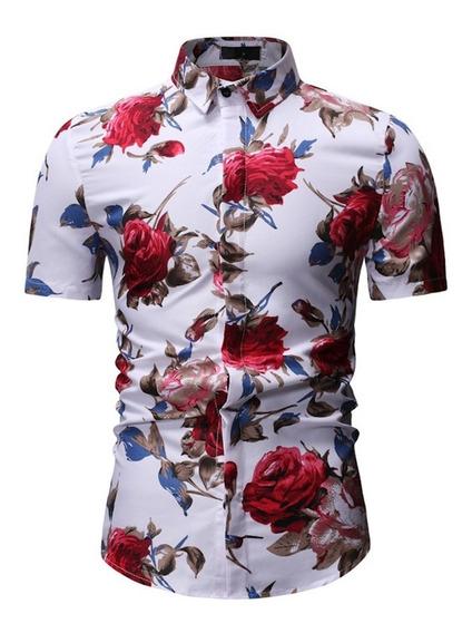 Floral Padrão Lapela Camisa Casual Flor Shirts Topo Manga C