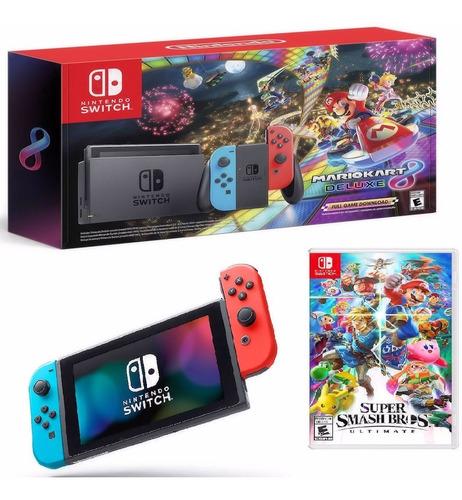 Consola Nintendo Switch Neon +mario Kart 8+ Super Smash