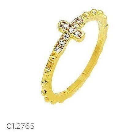 Anel Religioso Terço Folh. Ouro Bolinhas Cruz Pedra Cristal