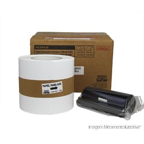 Papel + Ribbon Para Impressora Fuji Ask300 - 400 Fotos 10x15