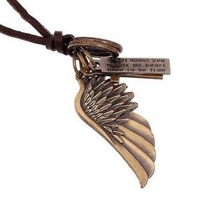 Cordão Colar De Couro Com Pingente Asa De Anjo - Dourado