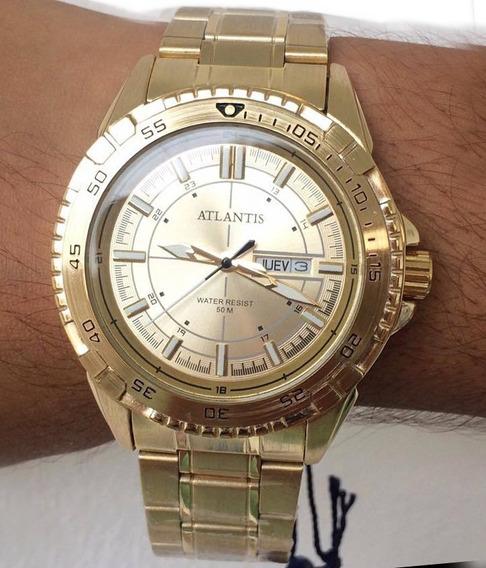 Relógio Masculino Dourado Original Atlantis Aço + Caixa