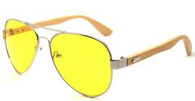 82c045b5d Óculos De Sol Unissex Aviador Bl Com Haste De Madeira