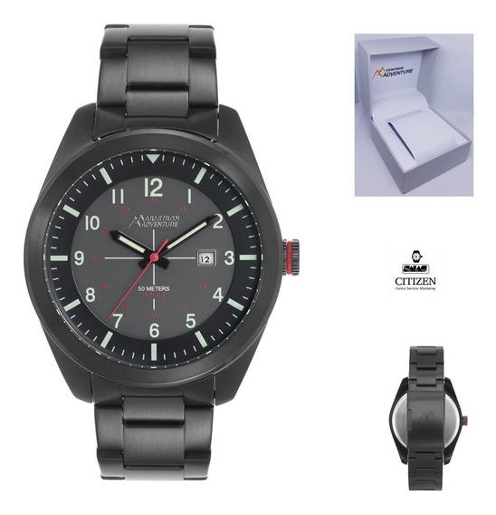 Reloj Armitron Ad1000 Hombre Acero Fechador Negro Full