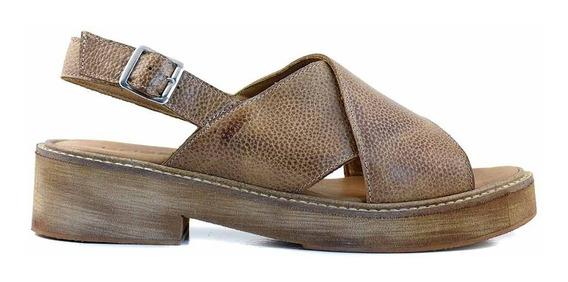 Sandalia Cuero Mujer Briganti Zapato Goma Charol Mcsd04472 C