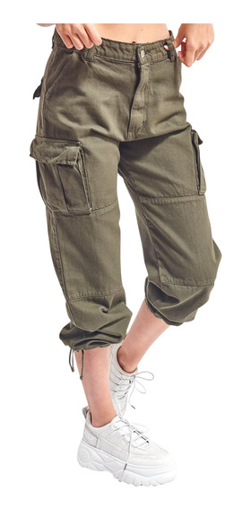 Pantalón Overdrive Gabardina Tipo Cargo Recto Mujer 47street