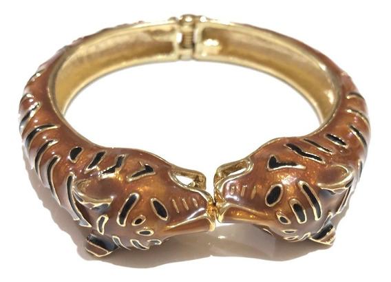 Pulseira Dourada Esmaltada Marrom E Preta, Formato Felino