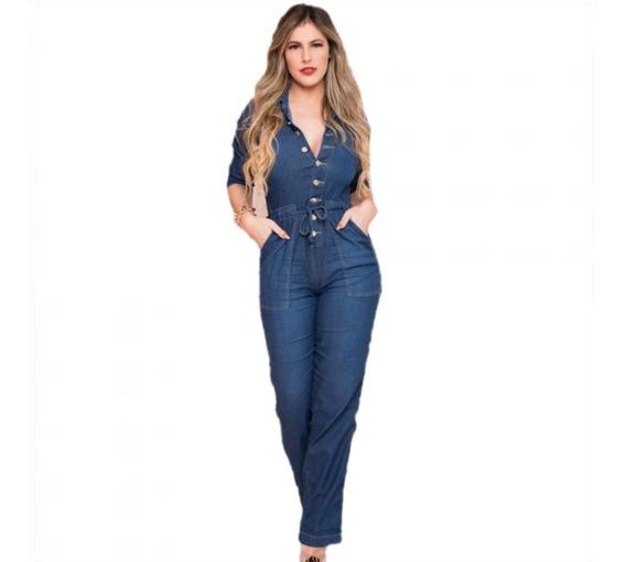 Macacão Longo Calça Feminino Jardineira Jeans Lycra Mjl1