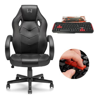 Cadeira Gamer Warrior Ajustável Multilaser + Teclado Tc160