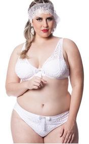 Conjunto Lingerie Plus Size Sexy Luxo Branco 48 50