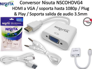 Conversor Nisuta Nscohdvg4 / Hdmi A Vga /soporta Hasta 1080p