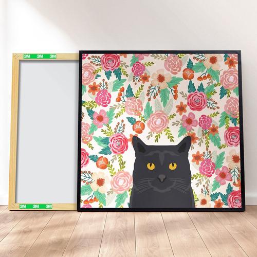 Imagem 1 de 4 de Quadro Decorativo 40x40 - Linha Pet Gato Preto Floral