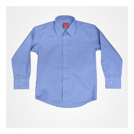 Camisa Manga Larga Lisa De Vestir Marca Oscar Azul Francia