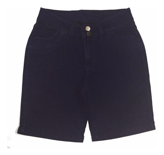 Bermuda Feminina Jeans Escura Tamanho Grande Defeito 8017