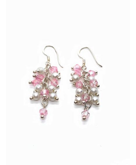 Aros Colgantes Perla Y Cristales Rosas Plata 925 (h224)