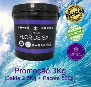 Flor De Sal Produzida No Brasil Balde 3kg Frete Grátis