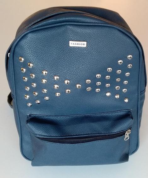 Mochila De Eco Cuero Azul Con Bolsillo Delantero Y Tachas