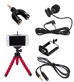 Mini Tripé Celular Microfone Lapela Extensão + Adaptador