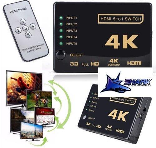 Adaptador Hub Switch Hdmi 5x1 C/ Controle Remoto Divisor T45