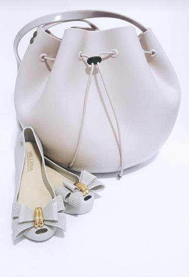 Kit 2 Itens Sapatilha Feminina+ Bolsa Tipo Melissa Luxo