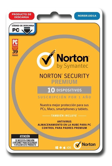 Norton Security Premium Antivirus 10 Pc 1 Año Digital