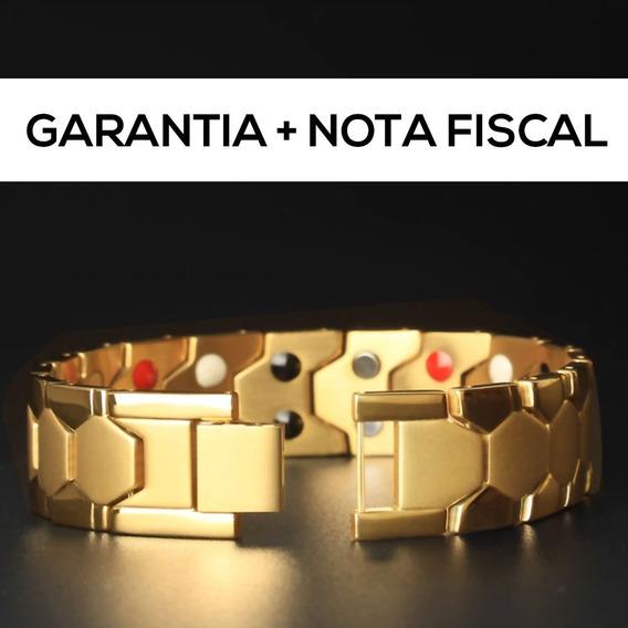 Pulseira Unissex Magnética Banhada A Ouro 18k Dourada + Nf